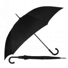 Premium Walking Umbrella with Rubber Crook Handle - Black